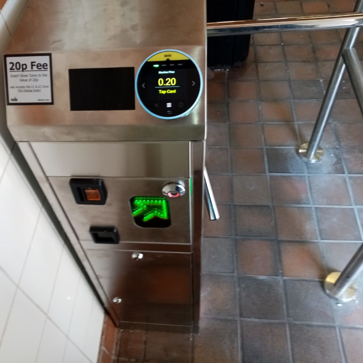 Coin operated turnstile with RFID card activation