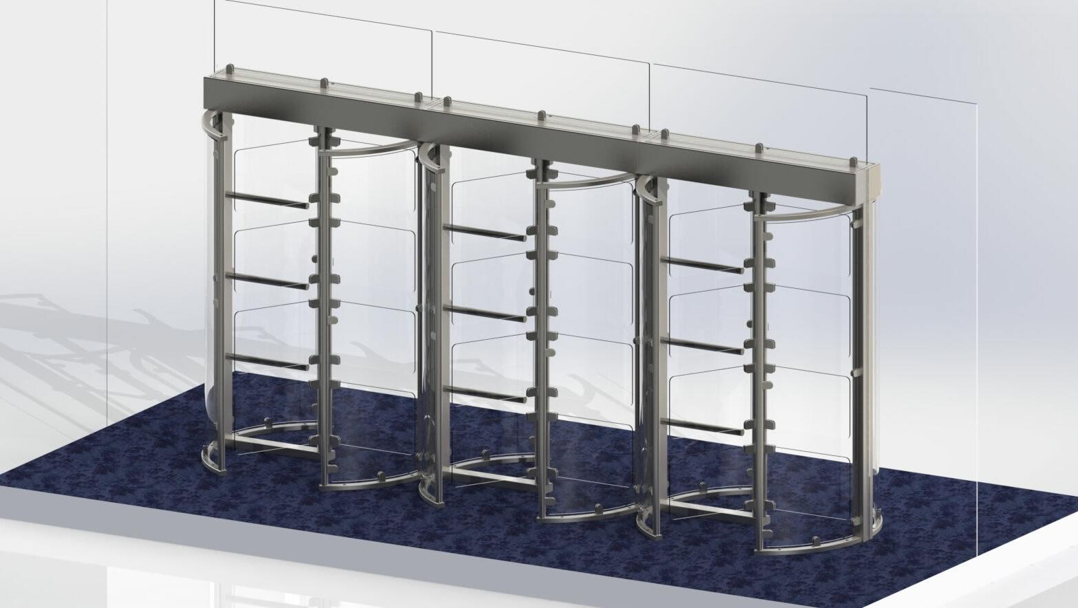 Full height stadium turnstiles with glass gates