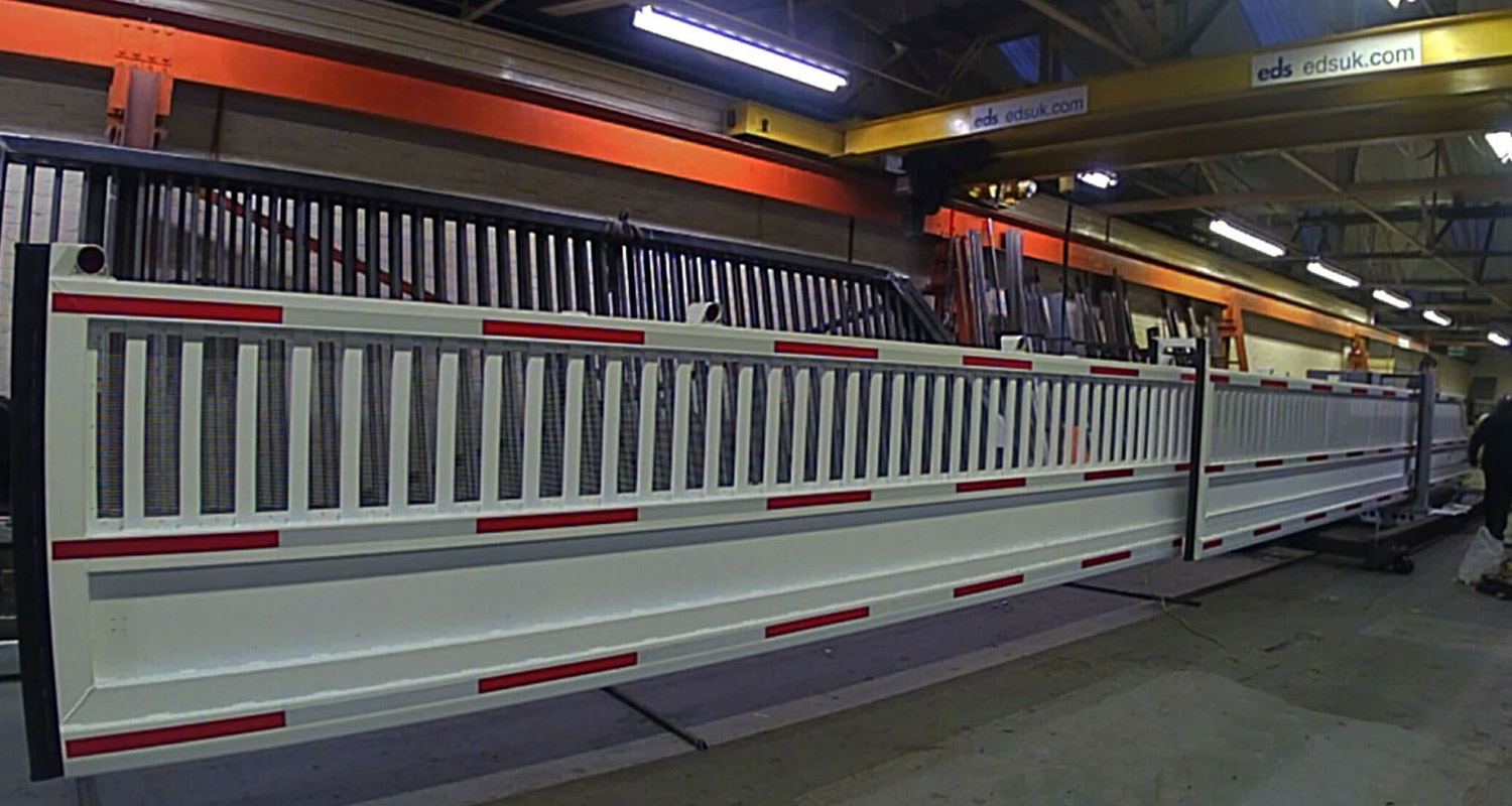 Photo of sliding railway level crossing being tested at the EDS factory