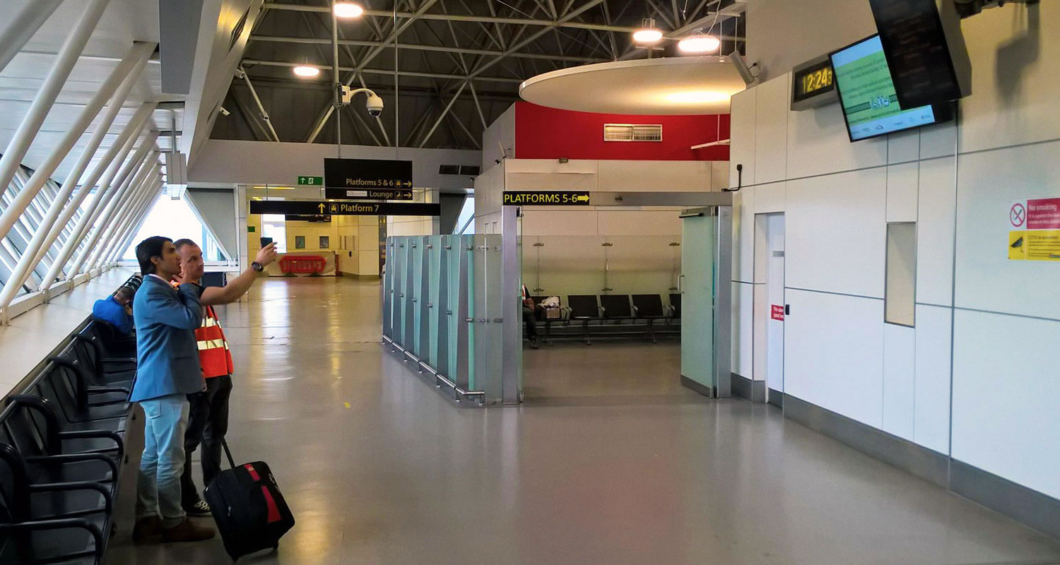 Photo of full height glass walling and gates at Gatwick Airport