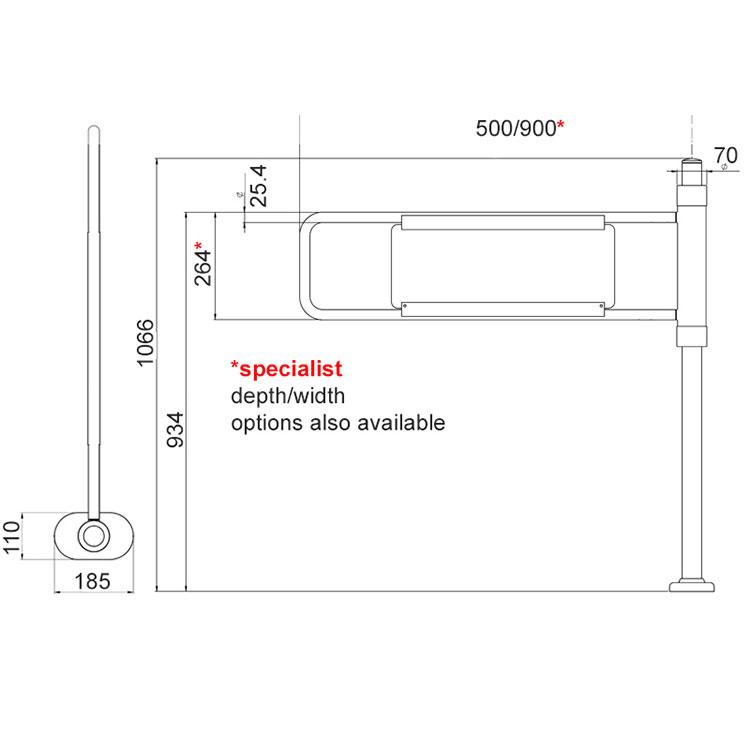 Specifications of an EDSUKBAP8 supermarket style pedestrian gate
