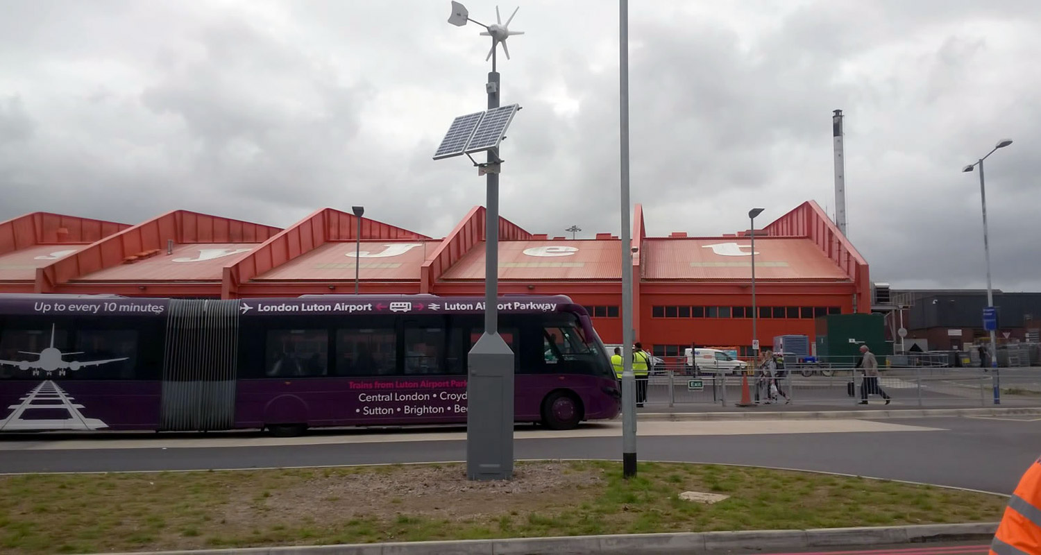 Solar amd wind pwoered traffic management solution in use at London Luton Airport