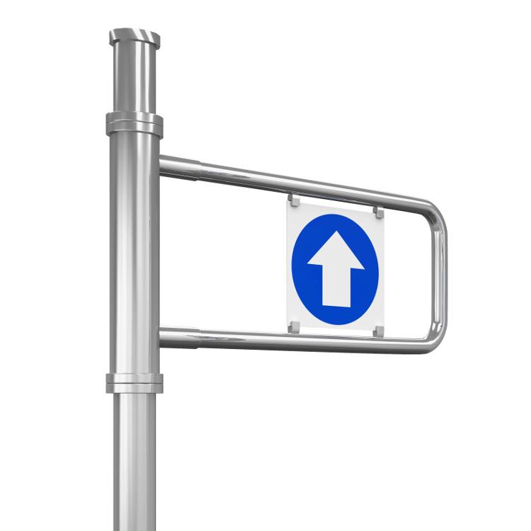 EDSUKBAP8 supermarket style pedestrian gate with directional sign