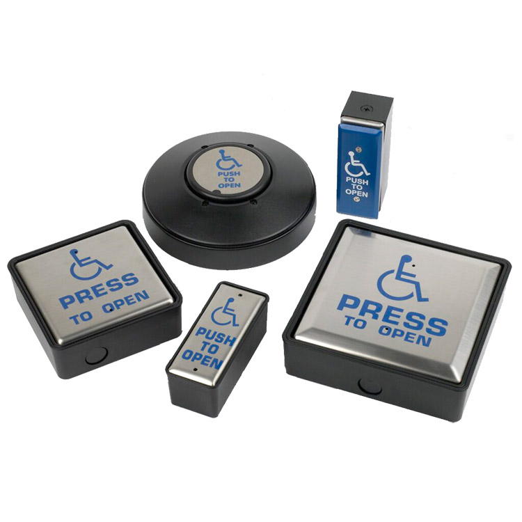 """Photo of range of disabled """"Press to open"""" buttons"""