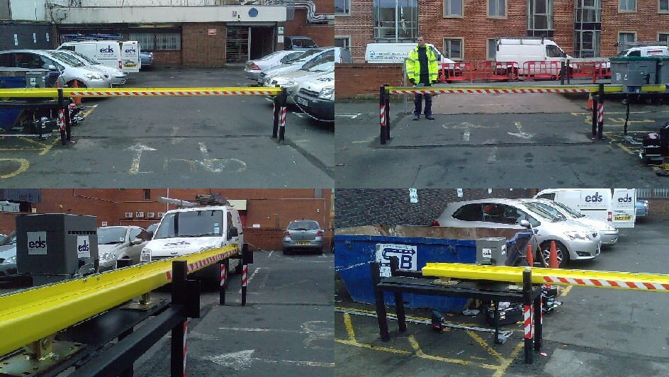 Collage of photos of EDS automatic sliding barriers