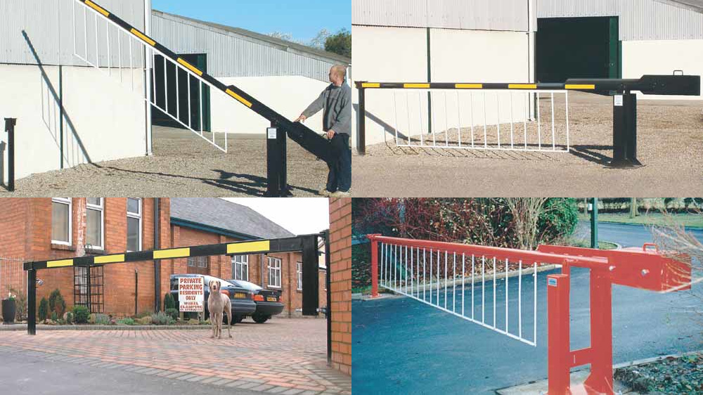Collage of photos of manual swinging barriers