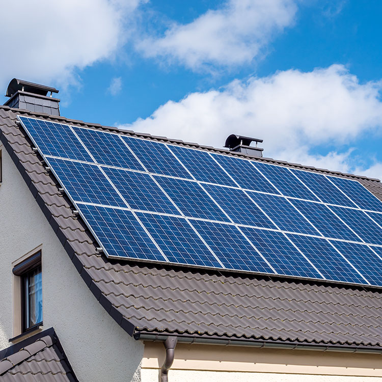 Solar panels on a home roof