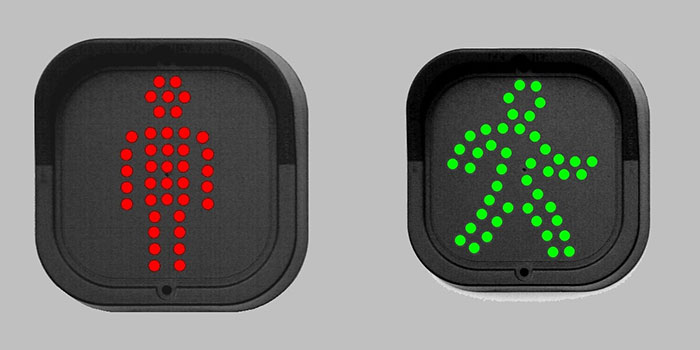 LED walking man pedestrian traffic lights